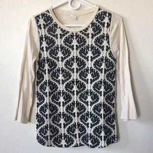 J.Crew Factory Embroidered 3/4 Sleeve Shirt